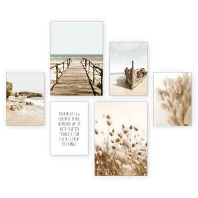 Kreative Feder Poster »Strand«, Strand (Set, 6 Stück), 6-teiliges Poster-Set, Kunstdruck, Wandbild, Posterwand, Bilderwand, optional mit Rahmen, WP510