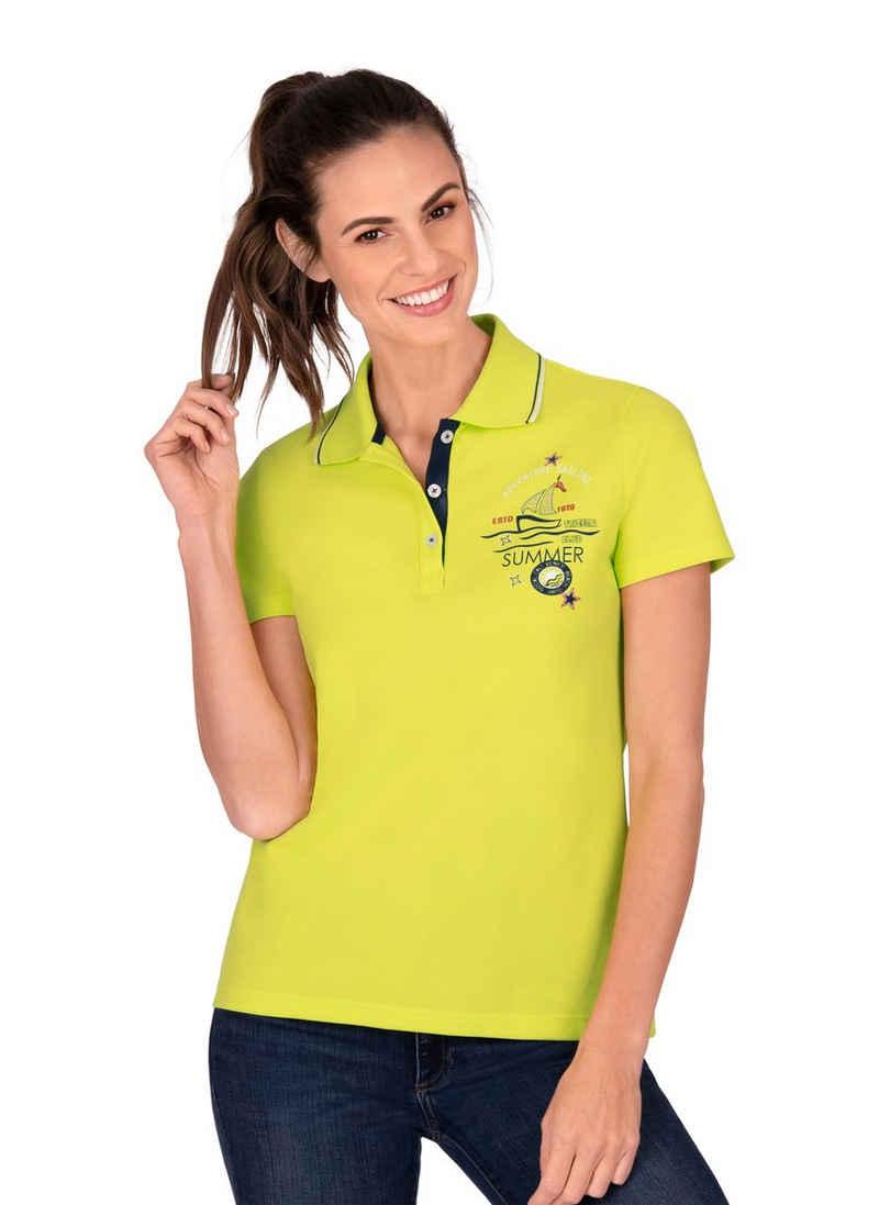 Trigema Poloshirt aus Baumwolle mit modernem Aufdruck
