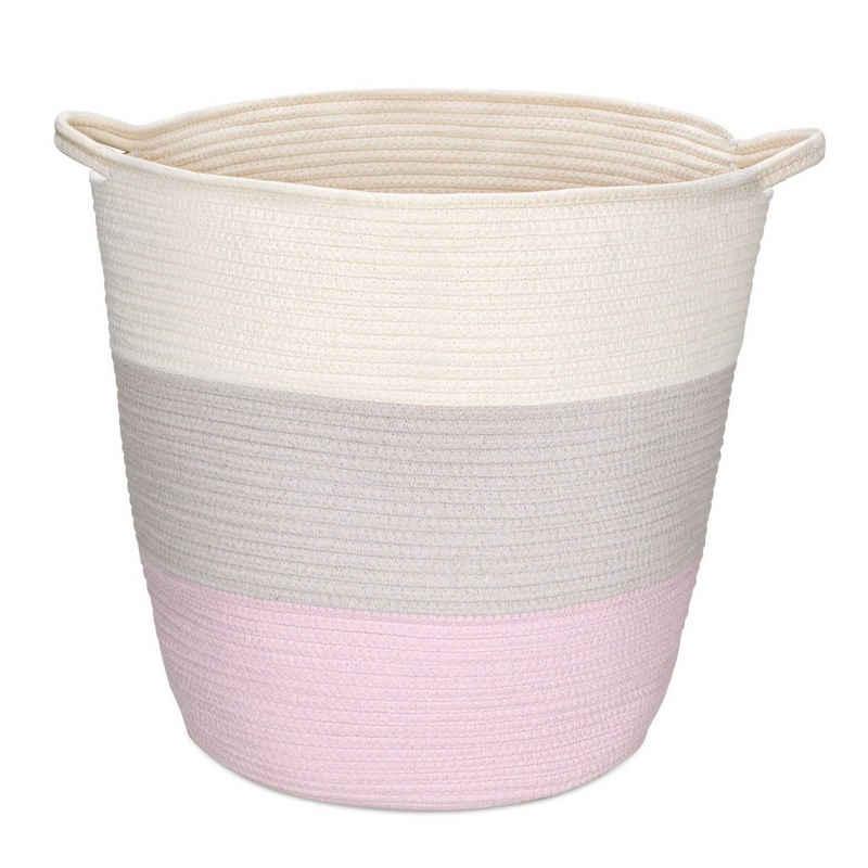 Navaris Aufbewahrungskorb, geflochten aus Baumwolle - Flechtkorb zur Aufbewahrung Wäschekorb - Seil Korb rund für Wäsche Kissen Decken Spielzeug - waschbar