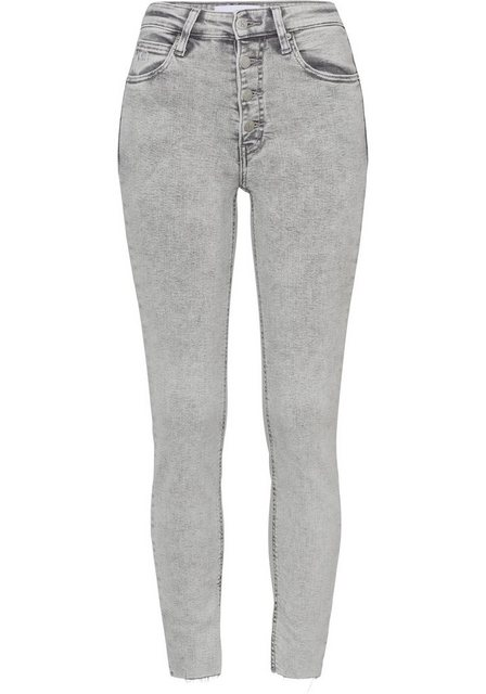 Hosen - Calvin Klein Jeans Skinny fit Jeans »HIGH RISE SKINNY ANKLE« mit sichtbarem Button fly und Fransensaum ›  - Onlineshop OTTO