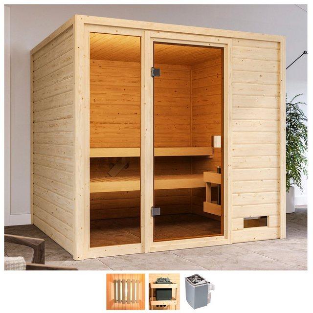 Saunen und Zubehör - Karibu Sauna »Jackie«, BxTxH 196 x 196 x 187 cm, 38 mm, 9 kW Ofen mit int. Steuerung  - Onlineshop OTTO