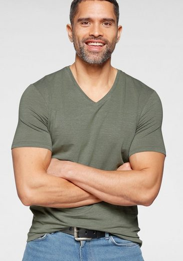OLYMP T-Shirt »Level Five body fit« mit hohem Leinenanteil