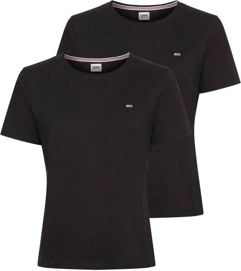 Tommy Jeans Rundhalsshirt »TJW 2PACK SOFT JERSEY TEE« mitTommy Jeans Logo-Flag auf der Brust