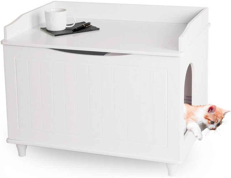 WONDERMAKE Tierhaus »Katzenschrank für Katzentoilette groß aus Holz, Katzenklo-Schrank Kommode XL, Design Katzen-Haus Toilette Klo Waschbecken-Unterschrank für Bad, 73,5 x 51,5 x 57 cm, weiß«