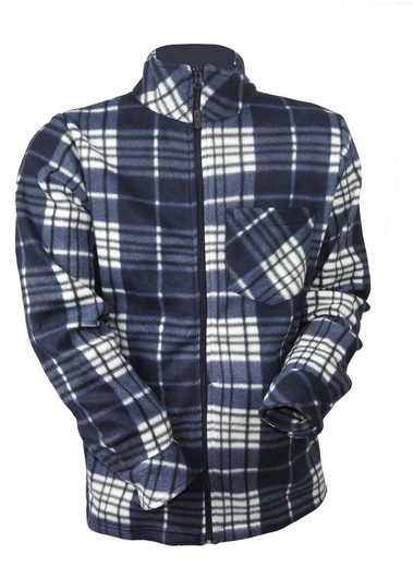 dynamic24 Fleecejacke Herren Holzfäller Fleece Jacke blau kariert Thermo Flanell Hemd Arbeitsjacke warm