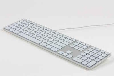 matias Apple-Tastatur (Matias Aluminium Erweiterte USB Tastatur mit RGB-Hintergrundbeleuchtung DE für Mac OS, silber mit weißen Tasten)