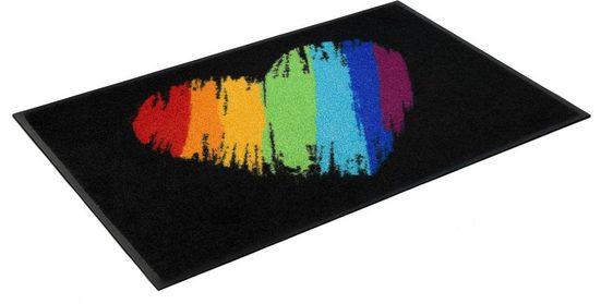 Fußmatte »Pride Heart«, wash+dry by Kleen-Tex, rechteckig, Höhe 7 mm, Fussabstreifer, Fussabtreter, Schmutzfangläufer, Schmutzfangmatte, Schmutzfangteppich, Schmutzmatte, Türmatte, Türvorleger, In- und Outdoor geeignet, waschbar