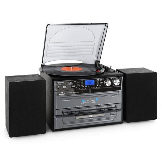 Auna »TC-386 Stereoanlage USB MP3 Kassette CD Plattenspieler Encoder« Kompaktanlage (UKW/MW-Radiotuner, 0 W)