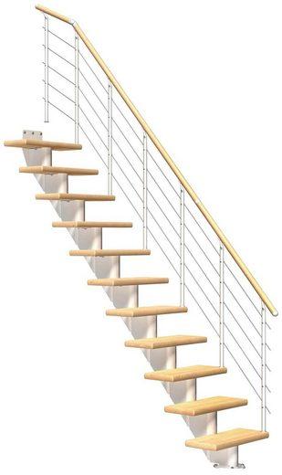 DOLLE Mittelholmtreppe »Frankfurt Birke 65«, bis 279 cm, Edelstahlgeländer, versch. Ausführungen
