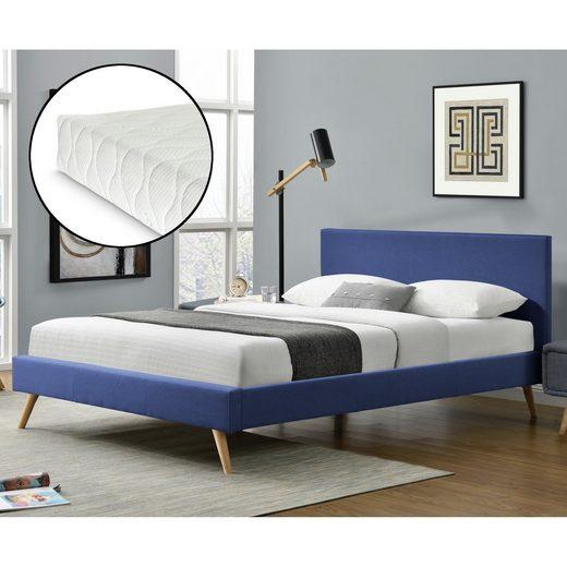 Corium Polsterbett, »Funchal« Bettgestell Ehebett aus Leinen mit Kaltschaummatratze in verschiedenen Farben und Größen