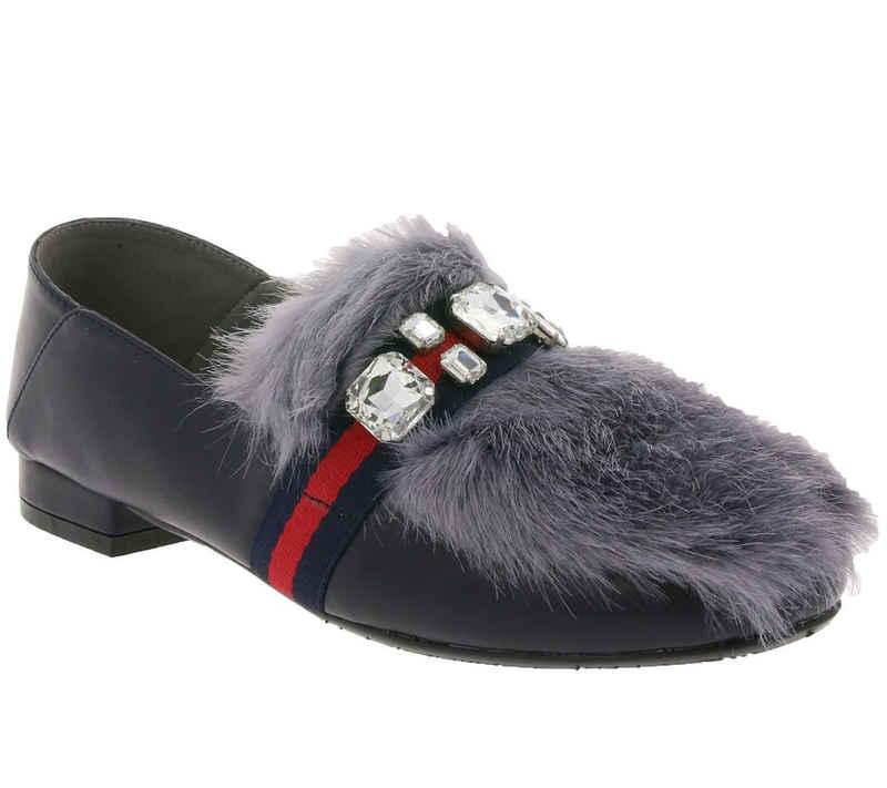XYXYX »xyxyx Schuhe Slipper extravagante Damen Mokkassins mit Lederimitat Ballerinas Dunkelblau« Slipper