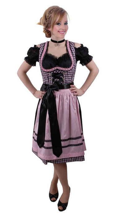 Moschen-Bayern Dirndl »Mini-Dirndl kurz Damen - Dirndl Mini Schwarz-Rosa Trachtenkleid Oktoberfest Wiesn-Dirndl 60 cm« Dirndl, Mini, kurz, Trachtenkleid, kariert