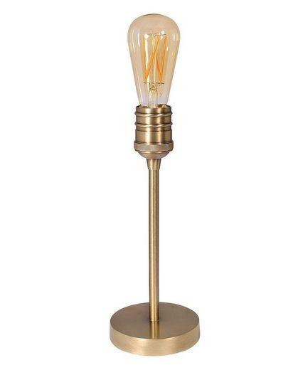 Licht-Erlebnisse Schreibtischlampe »LIGHT BULB«, Tischlampe Messing helles Bronze rund Ø12cm E27 Vintage Design