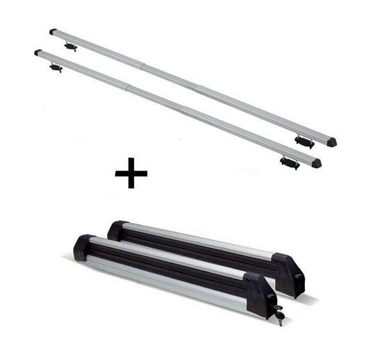 VDP Fahrradträger, Skiträger Silver Ice ausziehbar + Dachträger RAPID kompatibel mit Renault Kangoo Express (Mk2) (5Türer) ab 08