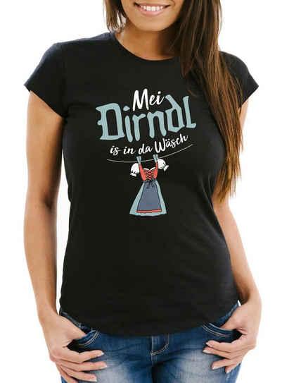 MoonWorks Print-Shirt »Damen T-Shirt Oktoberfest Mei Dirndl is in da Wäsch Slim Fit Moonworks®« mit Print