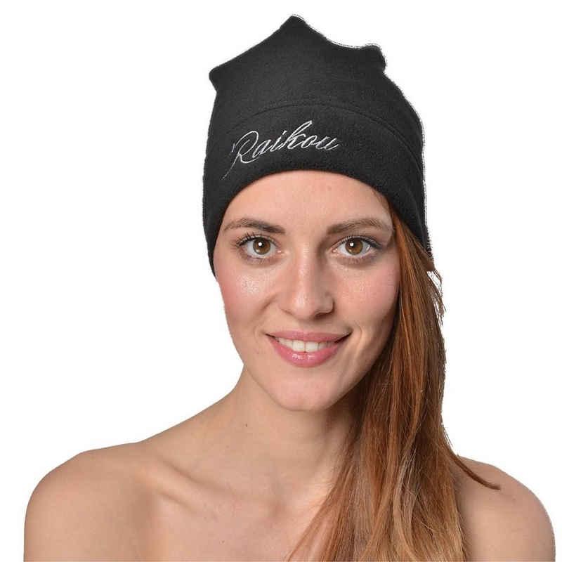 RAIKOU Beanie »RAIKOU Warme Winter Mütze / Beanie Für Kalte Tage One Size Unsex Einfarbig Mit Gesticker Schrift« aus Microfaser-Fleece
