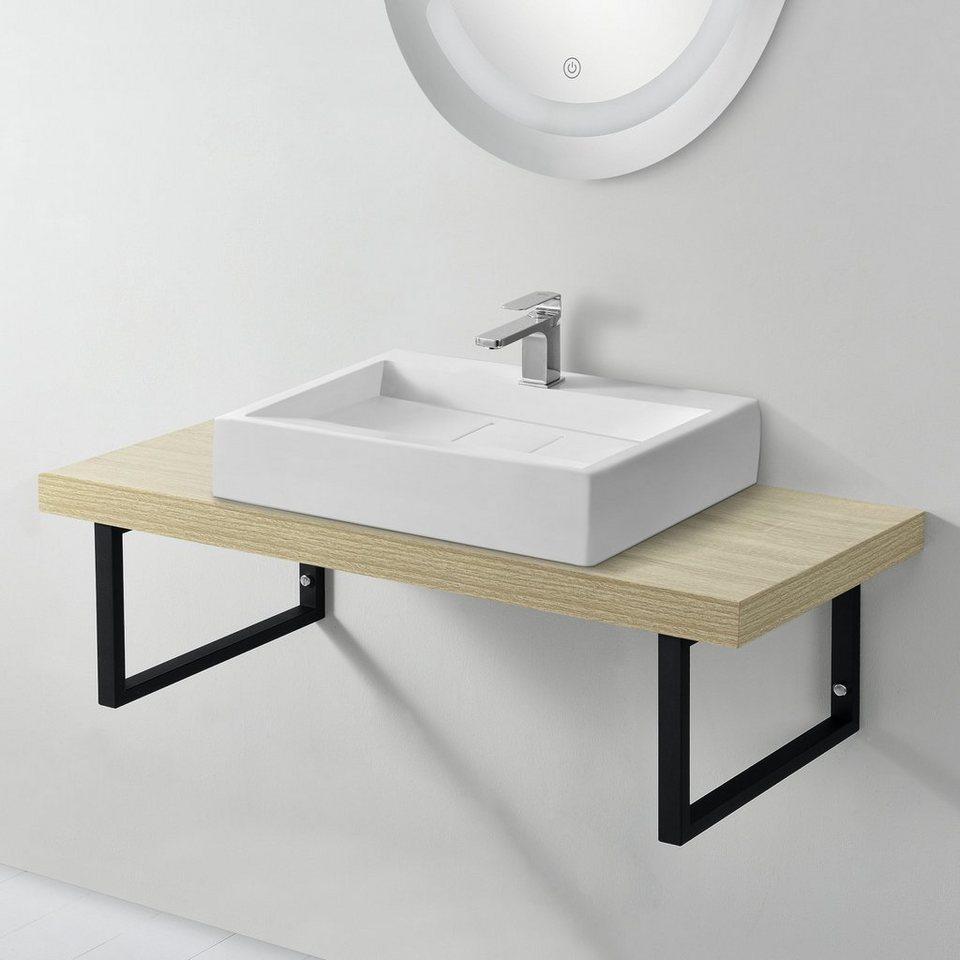 neu.haus Waschtisch, Waschtischplatte 20x20x20cm Waschtischkonsole mit  Handtuchhalter natur online kaufen   OTTO