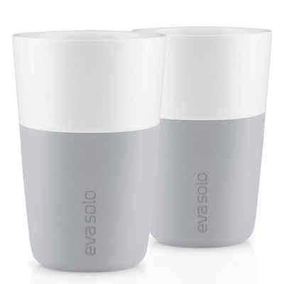 Eva Solo Becher »Eva Solo Café Latte Becher 2er Set Marble Grey«, Porzellan und Silikon, Ø x H+8.5 x 12.5 cm