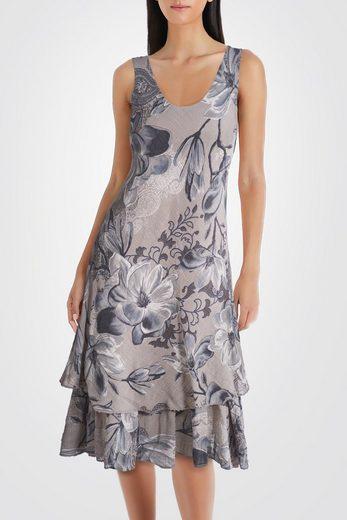 PEKIVESSA Sommerkleid »Trägerkleid Damen Baumwolle knielang« zweilagig mit Volants