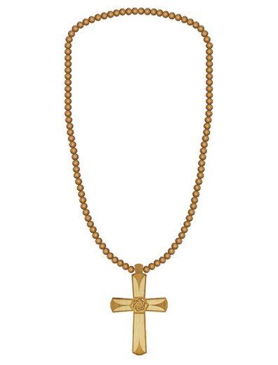 WOOD FELLAS Halsband »WOOD FELLAS Mode-Schmuck coole Hals-Kette mit großem Kreuz-Anhänger aus Holz Hals-Schmuck Beige«