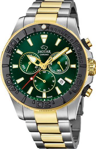 Jaguar Chronograph »UJ873/2 Jaguar Herren Armbanduhr Executive«, (Chronograph), Herrenuhr rund, groß (ca. 46mm), Edelstahl, Edelstahlarmband, Sport-Style
