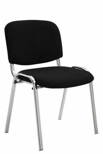 CLP Besucherstuhl »Ken Chrom Stoff« mit robustem Metallgestell und gepolsterter Rückenlehne