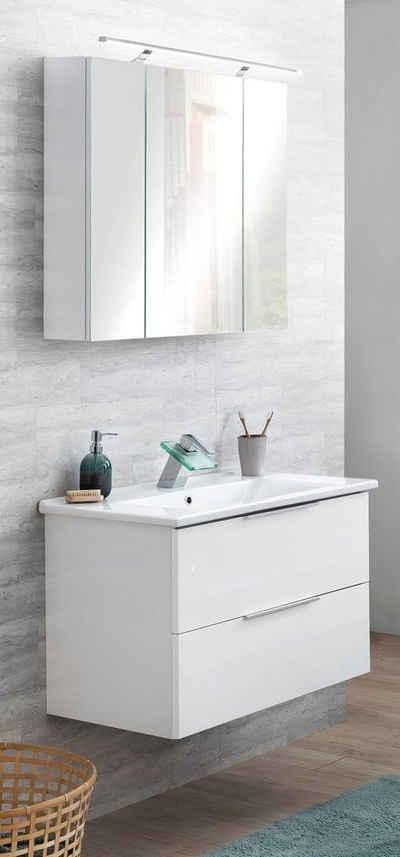 Schildmeyer Badmöbel-Set »Ankona«, (2-St), Spiegelschrank & Waschtisch, montiert