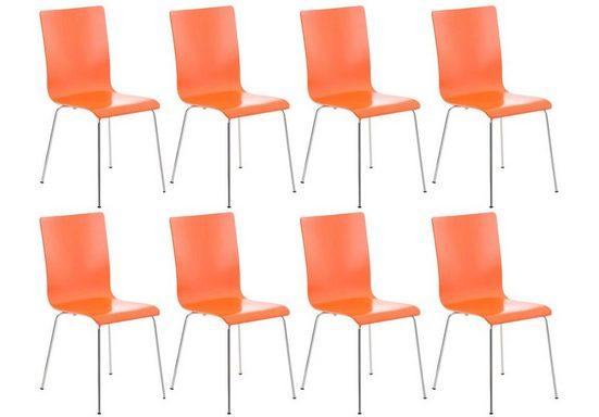 CLP Besucherstuhl »Pepe« (8er Set), mit ergonomisch geformten Holzsitz und Metallgestell