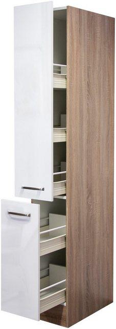 Flex-Well Exclusiv Apotheker-Hochschrank Valero 30 cm Hochglanz Weiß