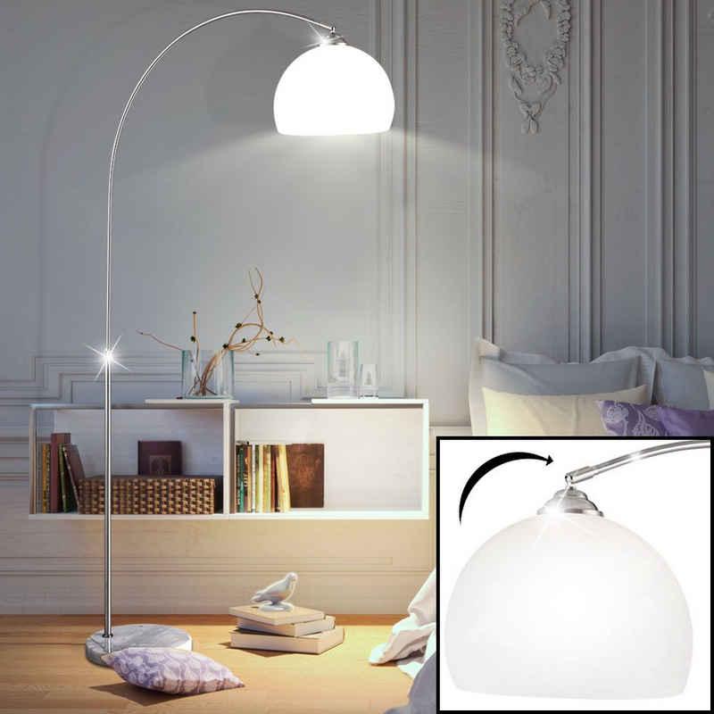 etc-shop LED Bogenlampe, Wohnzimmer Steh Leuchte Marmor Sockel Lese Lampe Beleuchtung im Set inklusive 10 Watt LED Leuchtmittel