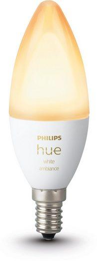 Philips Hue »White Ambiance E14 LED-Lampe« LED-Leuchtmittel, E14, Neutralweiß, Tageslichtweiß, Warmweiß, Extra-Warmweiß, Smarte E14 LED-Lampe in Kerzenform, Lichtsteuerung per Bluetooth oder Hue Bridge, Auswahl aus 50.000 Weißschattierungen, Stufenloses Dimmen