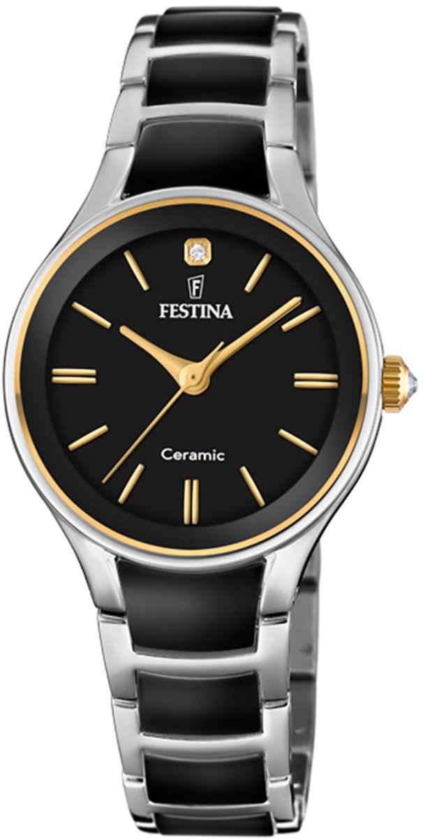 Festina Quarzuhr »UF20474/4 Festina Damen Uhr F20474/4 Keramik«, (Analoguhr), Damen Armbanduhr rund, Edelstahl, Keramikarmband schwarz, silber