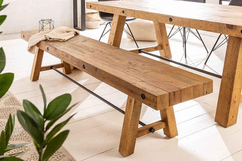 riess-ambiente Sitzbank »FINCA 165cm vintage braun« (1-St), Holzbank · recyceltes Massivholz · Esszimmer · Pinienholz