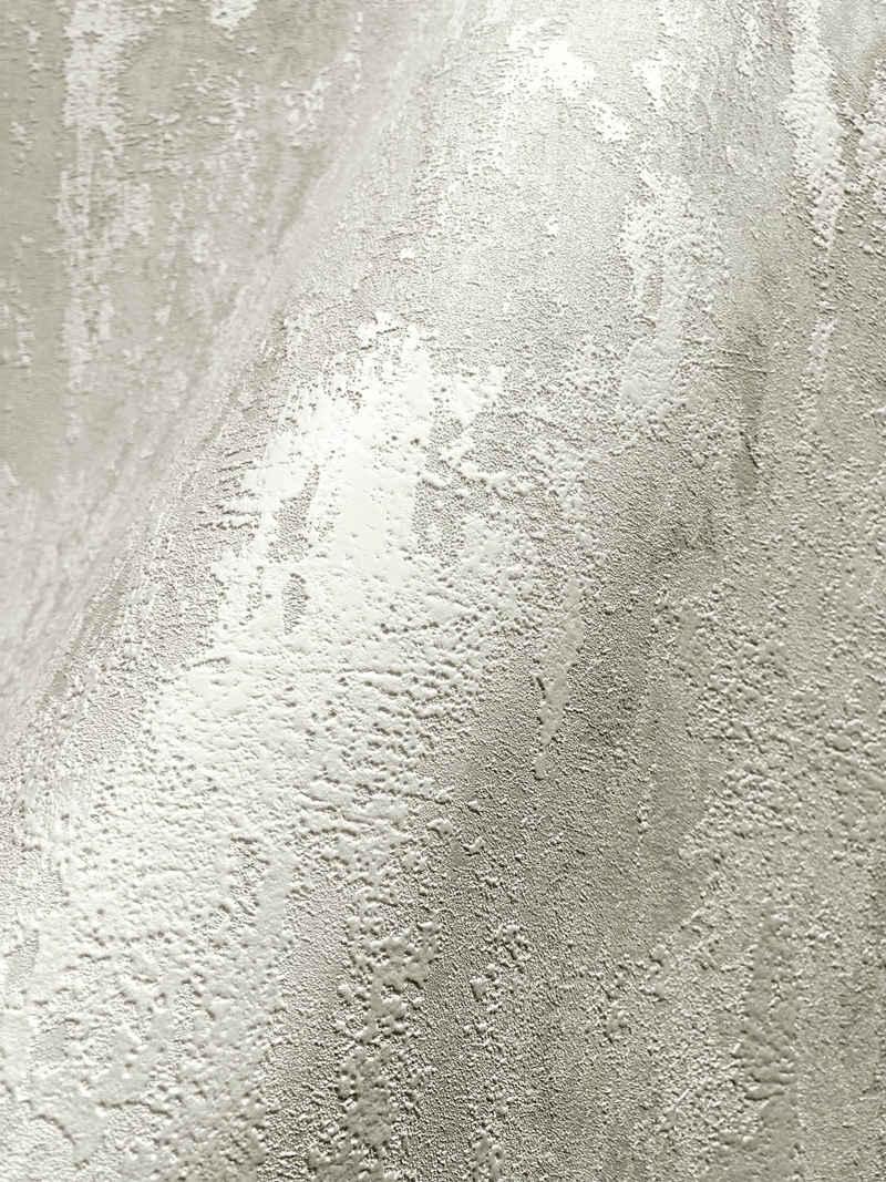 Newroom Vliestapete, Tapete, Creme, Beton, Weiß Tapete Wohnzimmer Flur Wallpaper Vlies