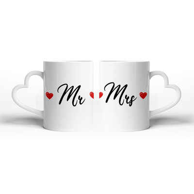 Kreative Feder Tasse »Mr & Mrs«, Keramik, Tasse mit herzförmigem Henkel, Keramiktasse, fasst ca. 300ml, Kaffe, Tee, Liebe, Herz, Ehe, Hochzeit, Valentinstag