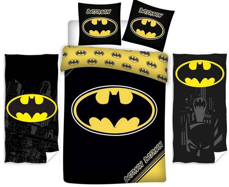 Kinderbettwäsche »Batman - Kinder-Bettwäsche-Set, 135x200 cm und 2 Handtücher, 70x140 cm«, Batman, 100% Baumwolle