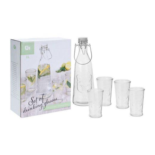 HTI-Living Glas »Trinkglas-Set mit Flasche 5-tlg.« (5-tlg)