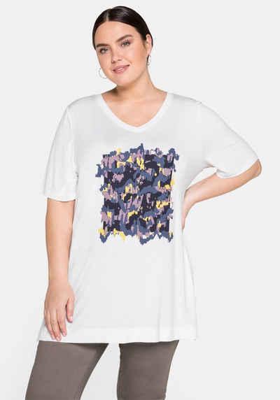 Sheego T-Shirt mit V-Ausschnitt und Frontprint