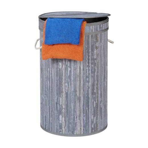 relaxdays Wäschekorb »Wäschekorb Bambus mit Klappdeckel«