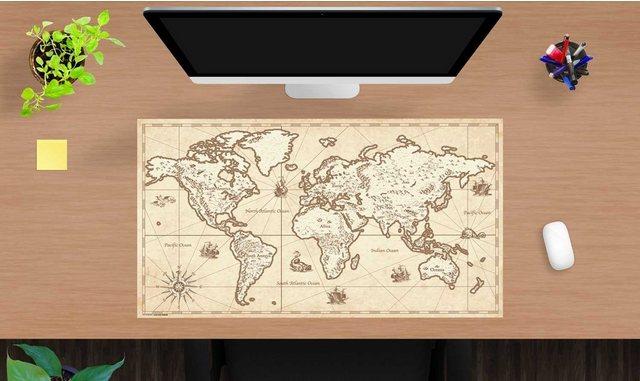 Kindertische - cover your desk.de Schreibtischaufsatz »Schreibtischunterlage für Kinder und Erwachsene – Weltkarte retro – 70 x 40 cm – aus hochwertigem Vinyl«, (1 St)  - Onlineshop OTTO