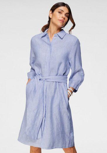 seidensticker Blusenkleid (mit Bindegürtel), längeres Leinenkleid, gestreift