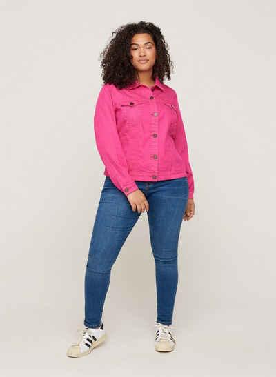 Zizzi Jeansjacke Große Größen Damen Denimjacke mit Knöpfen, Kragen und Taschen