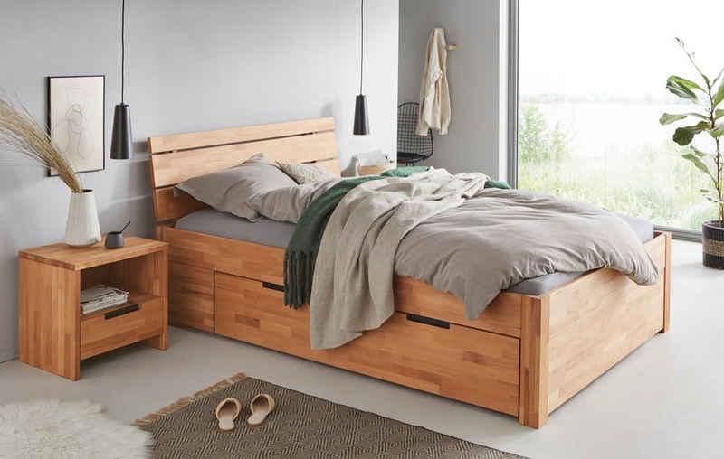 TaBoLe Möbel Stauraumbett »Ema«, inkl. Bettschubladen auf Rollen, viel Stauraum, hohe Stabilität
