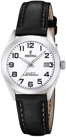 Festina Multifunktionsuhr »UF20447/1 Festina Damen Uhr F20447/1 Analog Leder«, (Analoguhr), Damen Armbanduhr rund, Lederarmband schwarz