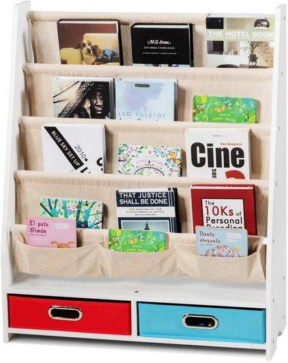 COSTWAY Bücherregal »Hängefächerregal«, Kinder Bücherregal Aufbewahrungsregal Standregal mit Hängefächern