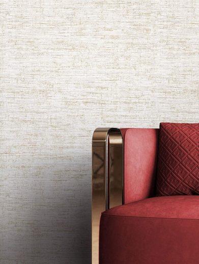 Newroom Vliestapete, Grau Tapete Uni Leicht Glänzend - Unitapete Einfarbig Creme Gold Modern Struktur für Wohnzimmer Schlafzimmer Küche