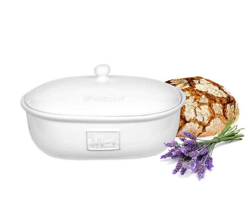 BigDean Brotkasten »Brottopf Toskana Oval mit Belüftung aus Steingut Brotkorb 36,5 x 25,5 x 19 cm«, Steingut, (1-tlg)