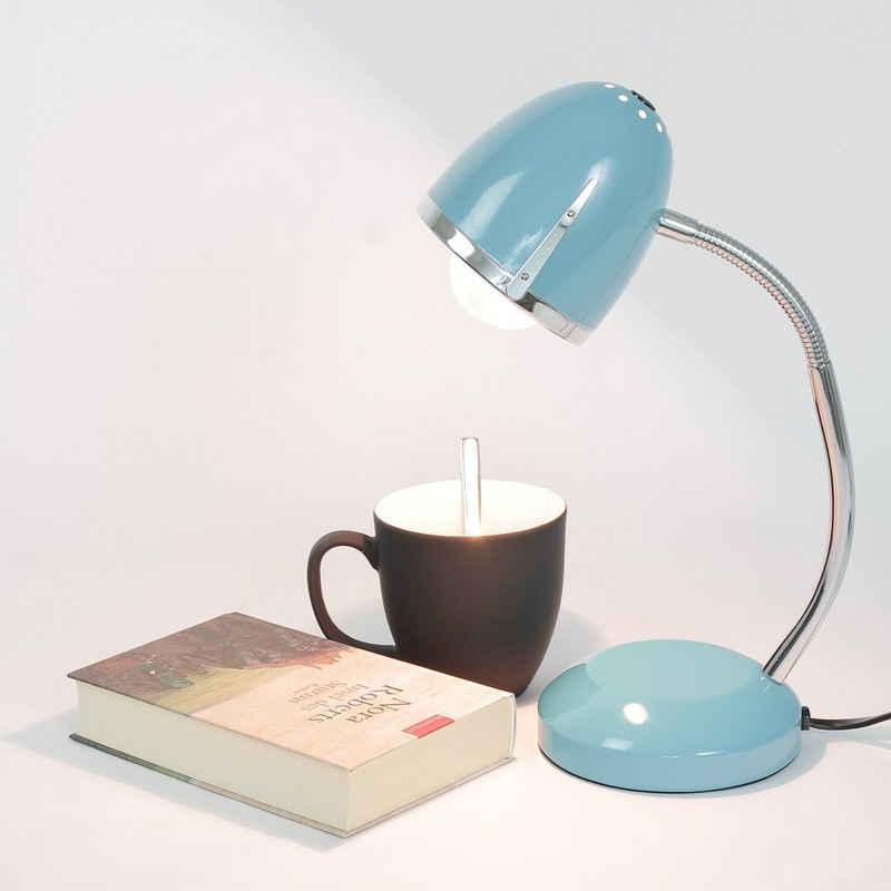 Licht-Erlebnisse Schreibtischlampe »POCATELLO«, Schreibtischlampe Blau Metall retro Büro Leselicht Lampe