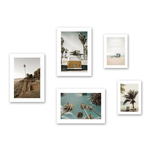 Kreative Feder Poster, Strand, Palmen, Meer, Surfen, Reisen (Set, 5 Stück), 5-teiliges Poster-Set, Kunstdruck, Wandbild, Posterwand, Bilderwand, optional mit Rahmen, WP610