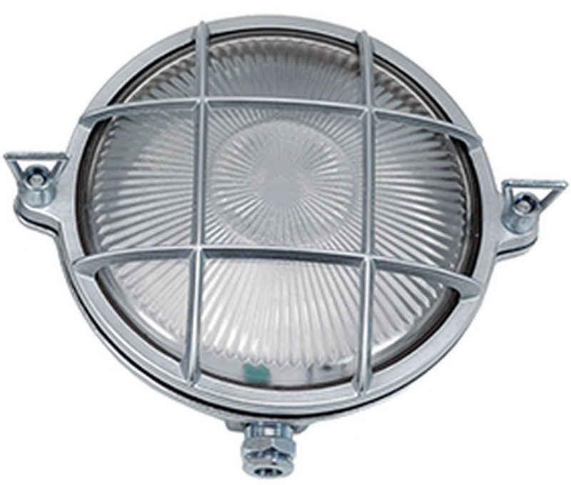 Licht-Erlebnisse Außen-Wandleuchte »SERIFOS«, Schiffslampe Messing Echt Riffelglas Premium Außenwandleuchte Lampe